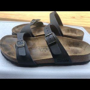 Birkis Unisex's Dark Blue Leather Slide On Sandals